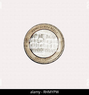 Limited edition British £2 coin commemorating 1611 English translation of the Christian bible - Stock Photo