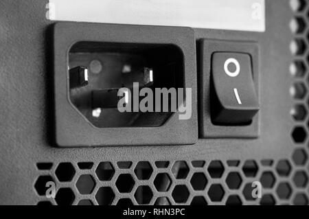 Close-up shot of PC Power Supply. Black and white. - Stock Photo