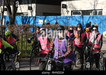 London, UK, February 3rd 2019. Cyclists gather in central London to take part in a ten mile ride in support of the 'Stansted 15'. The 'Stansted 15' are a group of protesters who surrounded an aircraft at Stansted airport in 2017 to prevent it being used to carry out a deportation. The 15 have been found guilty of terrorism related charges and will be sentenced in Chelmsford on February the 6th. Roland Ravenhill/Alamy Live News - Stock Photo