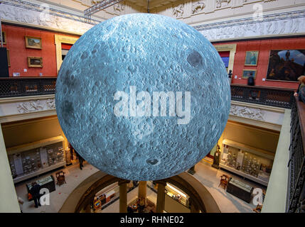 Preston, UK. 03rd Feb, 2019. The Museum of the Moon, an artwork by Luke Jerram, at the Harris Museum and Art Gallery, Preston, Lancashire. The seven metres in diameter sphere will tour various exhibitions and festivals around the world. Credit: John Eveson/Alamy Live News - Stock Photo