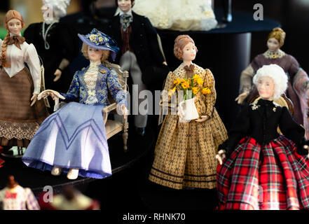 London, UK. 3rd February 2019. Miniature dolls on display for sale at the City of London Dollshouse Festival. The City of London Dollshouse Festival showcases the top craftsmen and craft suppliers specialising in all areas of miniatures & model-making. Credit: Vickie Flores/Alamy Live News - Stock Photo
