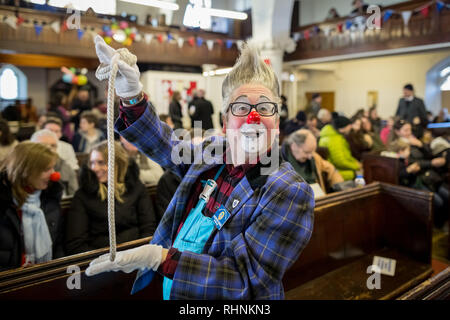 London, UK. 3rd February 2019. 73rd Annual Joseph Grimaldi Clown Church Service. Credit: Guy Corbishley/Alamy Live News - Stock Photo