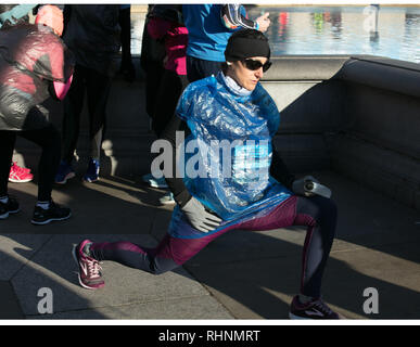 London, UK. 3rd February 2019. Some of the participant runners and winners of the 10K Cancer Research UK London Winter Run on the streets of London, today. Credit: Joe Kuis /Alamy Live News - Stock Photo