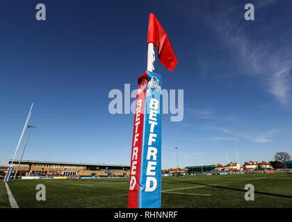 Trailfinders Sports Ground, London, UK. 3rd Feb, 2019. Betfred Super League rugby, London Broncos versus Wakefield Trinity; Rhino Betfred Try Pad Credit: Action Plus Sports/Alamy Live News - Stock Photo