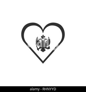 Montenegro flag icon in a heart shape in black outline flat design. Independence day or National day holiday concept. - Stock Photo