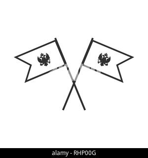 Montenegro flag icon in black outline flat design. Independence day or National day holiday concept. - Stock Photo