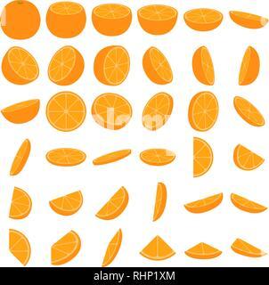 Orange icon set, parts and slices of orange, citrus fruit on a white background - Stock Photo