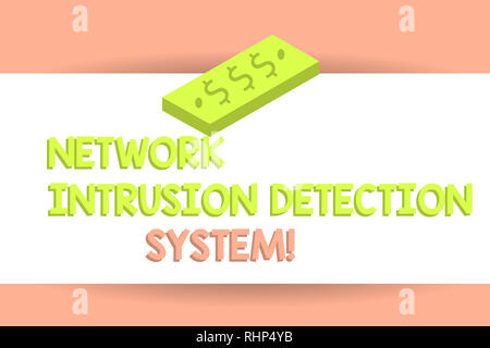Writing note showing Network Intrusion Detection System. Business photo showcasing Safety security multimedia systems Unit of Currency Dollar Sign on  - Stock Photo