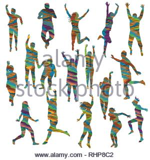 Striped colorful silhouettes of women and men - Stock Photo