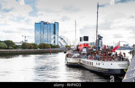 The Waverley as she goes 'doon the watter' for the first time this summer on the River Clyde at the Science Centre, Glasgow.  The Waverley is the worl - Stock Photo