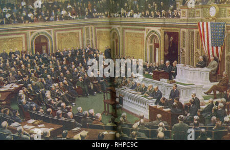 The caption reads: The President of the United States delivers his momentous message to Congress declaring that a State of War existed between the United States and Germany. President Woodrow Wilson asked Congress to declare war on Germany on April 2, 1917. - Stock Photo