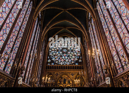 PARIS, FRANCE - MAY 18, 2016: Beautiful interior of the Sainte-Chapelle (Holy Chapel), a royal medieval Gothic chapel in Paris, France - Stock Photo