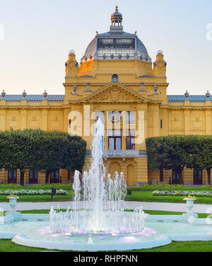 Fountain in park by Croatian National Theatre in Zagreb, Croatia - Stock Photo