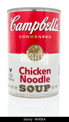 Winneconne, WI - 2 Feb 2019: A can of Campbells healthy request and original soup in tomato on an isolated background - Stock Photo