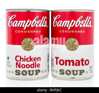 Winneconne, WI - 2 Feb 2019: A pair of can of Campbells soup in tomato and chicken noodle on an isolated background - Stock Photo