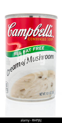Winneconne, WI - 2 Feb 2019: A can of Campbells soup in cream of mushroom fat free on an isolated background - Stock Photo