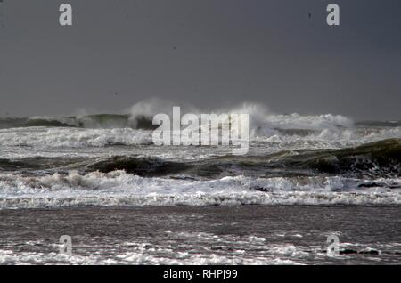 The waves at Ocean Beach in San Francisco can become choppy during storms and windy conditions. - Stock Photo