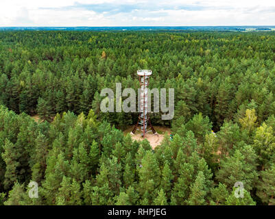 Aerial view of Labanoras Regional Park observation tower, the tallest observation tower in Lithuania, located in Moletai district, Lithuania. - Stock Photo