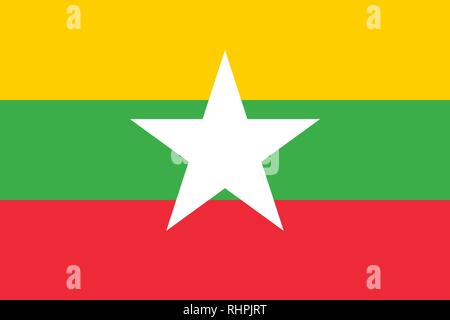 Vector Image of Myanmar Flag. Based on the official and exact Myanmar flag dimensions (3:2) & colors (116C, 361C, 1788C and White) - Stock Photo