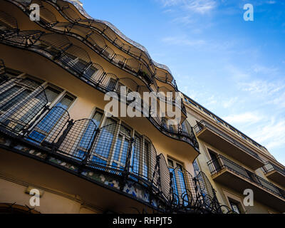 BARCELONA, SPAIN - CIRCA MAY 2018: View of Casa Batlló balconies from the interior patio., A famous building in the center of Barcelona designed by An - Stock Photo