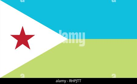 Vector image for Djibouti flag. Based on the official and exact Djibouti flag dimensions (7:4) & colors (311C, 374C, White and 199C) - Stock Photo