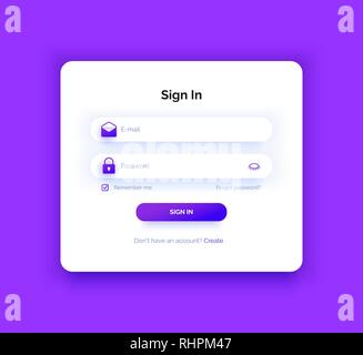 The login page. Purple gradient. Sign in form. - Stock Photo
