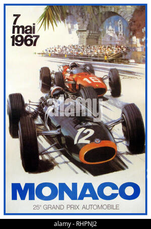 GRAND PRIX MOTOR RACING GP MONACO 7th May 1967 by Michael Turner Artist... The 100-lap race was won by Brabham driver Denny Hulme after he started from fourth position. Graham Hill finished second for the Lotus team and Ferrari driver Chris Amon came in third. (Poster illustrates Jim Clark Lotus Climax Racing with No 12 and Lorenzo Bandini Ferrari with No 18) - Stock Photo