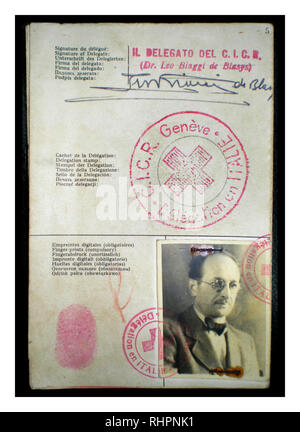 The Red Cross identitity document Adolf Eichmann used to enter Argentina under the alias Ricardo Klement in 1950, issued by the Italian delegation of the Red Cross in Genoa, Italy. - Stock Photo