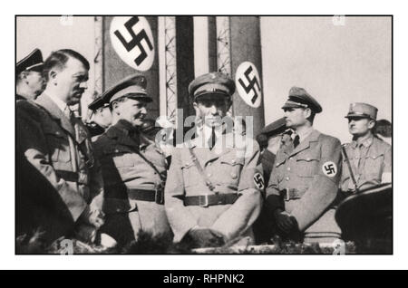 Rare Pre-War image of infamous group of top Nazi leaders at Nazi Party Rally in the 1930s. L-R: Adolf Hitler; Herman Goering, Joseph Goebbels, Rudolph Hess. The Nazi architects of the Night of the Long Knives:  Only Himmler and Heydrich are absent. - Stock Photo