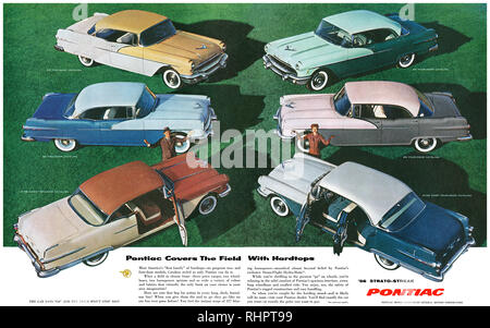 1956 U.S. advertisement for the Pontiac range of Catalina automobiles. - Stock Photo