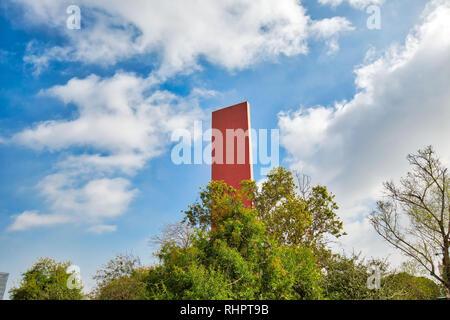 Monterrey, Mexico-11 December, 2018: Monterrey, Macroplaza, Landmark Tower of Commerce Monument (Faro Del Comercio) in historic city center - Stock Photo