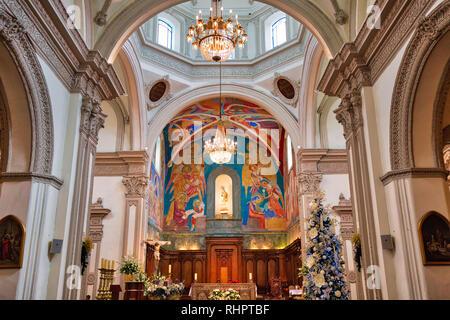 Monterrey, Mexico-11 December, 2018: Monterrey, Macroplaza, Metropolitan Cathedral (Catedral Metropolitana de Monterrey) - Stock Photo
