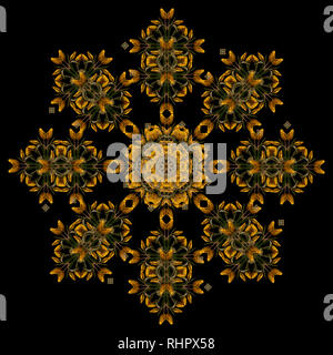 Fine art floral decorative and symmetrical fractal color pattern made from macros of golden yellow green tulips on black background,vintage painting - Stock Photo
