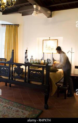 A guest room at the historical Koder House, a mansion structured and gabled in Europe before shipped to Fort Cochin in India to be reassembled. The st - Stock Photo