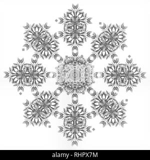 Fine art floral monochrome decorative and symmetrical fractal pattern made from macros of tulips on black background in vintage painting style - Stock Photo