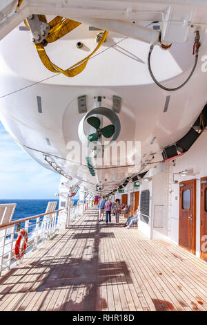 Onboard P&O Arcadia on its Christmas and New Year cruise  to the Caribbean, a 28 day round trip from Southampton. - Stock Photo