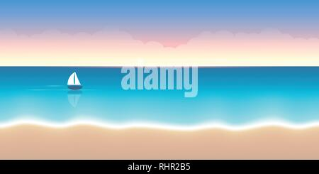 lonely sail boat on a calm sea summer holiday background vector illustration EPS10 - Stock Photo