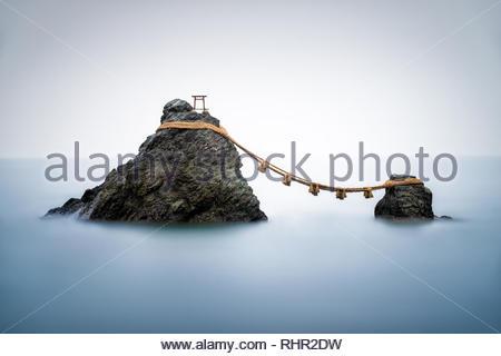 Sacred Meoto Iwa Rocks, Futami, Mie Prefecture, Japan - Stock Photo