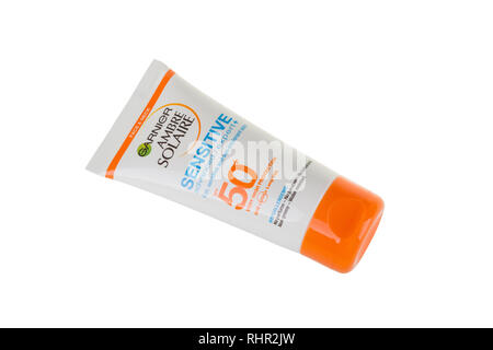 BURGAS, BULGARIA - MAY 22, 2017: Garnier Ambre Solaire Sensitive Face and Neck Sun Cream SPF50, 50ml isolated on white, with clipping path. - Stock Photo