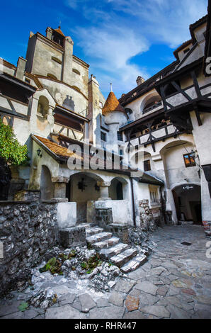 View of inside part of Bran or Dracula Castle in Transylvania, Romania. Tower of medieval Bran Castelul - Stock Photo