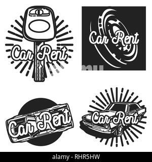 Color vintage car rent emblems, labels, badges and design elements. Vector illustration, EPS 10 - Stock Photo