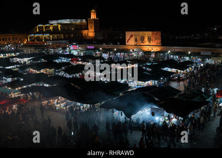 MOROCCO - MARRAKECH JAN 2019: Night view of Djemaa el Fna, a square and market place in Marrakesh medina quarter