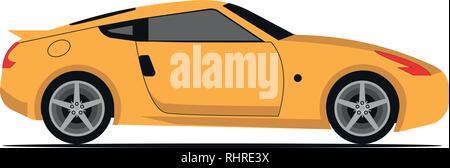 Illustration of yellow car vector, vector illustration - Stock Photo