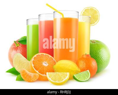 Isolated juices. Four glasses of fresh juice and pile of citrus fruits (grapefruit, orange, lemon, lime, tangerine) isolated on white background with  - Stock Photo