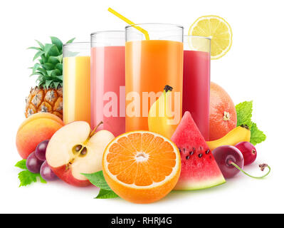 Isolated juices. Glasses of fresh juice and pile of fruits and berries isolated on white background with clipping path - Stock Photo