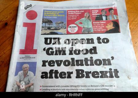 i newspaper front page headline  'UK open to 'GM food revolution' after Brexit'  London England UK 14 September 2018 - Stock Photo