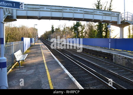 Shoreham village train station, Kent. Serves London Blackfriars and Sevenoaks. A popular station for walkers in the North Downs. Quiet, cold Sunday - Stock Photo