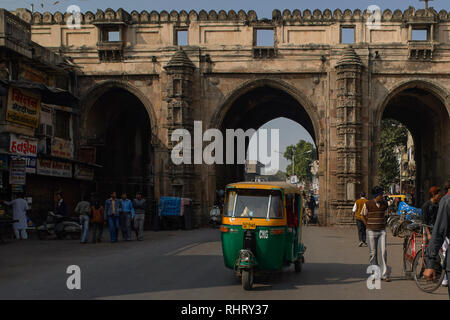 16-Dec-2007 Teen Darwaza, which is a historical gateway on the east of Bhadra Fort, now a unesco world heritage site Ahmedabad, Gujarat, India. - Stock Photo