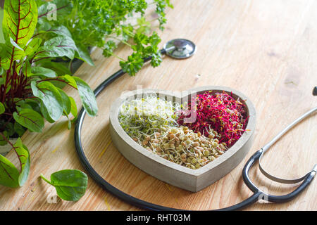 Vegetable sprouts and herbs in the heart healthy life style and alternative medicine concept - Stock Photo