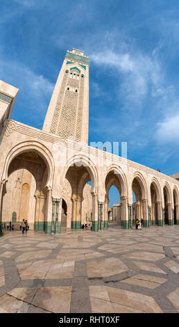The Hassan II Mosque at the night. The largest mosque in Morocco and one of the most beautiful. the 13th largest in the world. Casablanca, Morocco